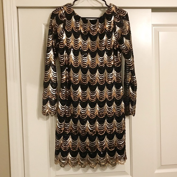 33f84cad5a Charlotte Russe Dresses   Skirts - LS Scalloped Sequin Mini Bodycon Dress